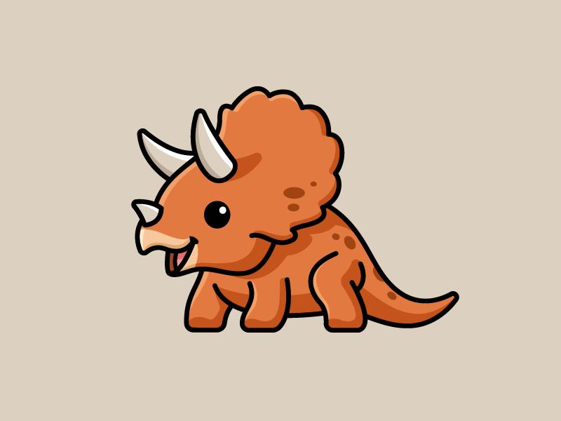 Triceratops horn children child design sticker bold cartoon outline adorable happy funny fun cute dinosaur triceratops illustration logo design logo