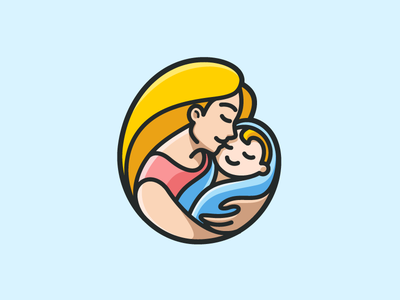 Mother & Baby rounded circle cute adorable smile happiness holding carrying illustration love care baby newborn female woman mother mom symbol icon identity logo cartoon comic child children geometry geometric cute fun funny illustrative illustration brand branding logo identity