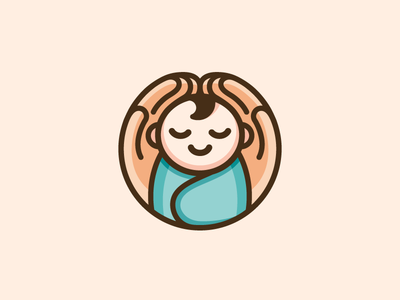 Baby + Hands warm lovely swaddle blanket smile happy holding carrying love care cute adorable circle rounded geometry geometric baby logo hands fingers baby newborn cartoon comic character mascot child children cute fun funny illustrative illustration brand branding logo identity