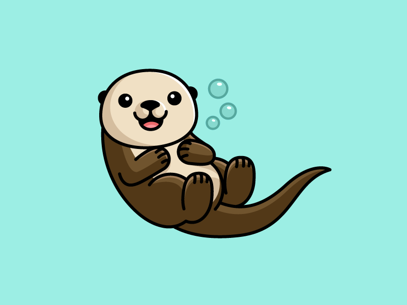 Sea Otter vector adobe illustrator cartoon design sticker shirt floating white furry mammal baby friendly water ocean smile happy adorable lovely swim swimming fun funny cute animal sea otter illustrative illustration character mascot brand branding illustrative illustration logo identity