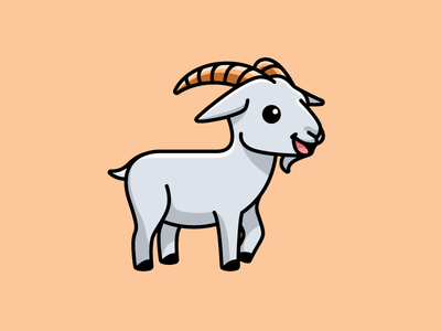 Goat simple lovely adobe illustrator design illustration friendly ranch agriculture dairy farming cattle farm stand standing animal sticker happy adorable smile smiling goat horn cartoon comic child children character mascot cute fun funny illustrative illustration brand branding logo identity