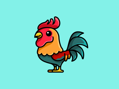 Rooster crowing alarm beautiful strong ranch agriculture farm farming adorable lovely cockerel hen morning animal color colorful illustration stand standing fighter male rooster chicken sticker design cartoon comic child children character mascot cute fun funny illustrative illustration brand branding logo identity