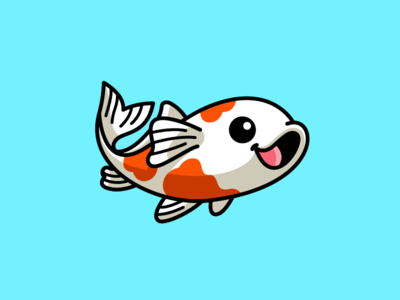 Koi Fish blue lily dynamic movement adorable lovely luck lucky china japan goldfish gold oriental beauty happy smile pond swimming asian culture koi fish water aquarium tshirt shirt sticker design cartoon comic child children character mascot cute fun funny illustrative illustration logo identity