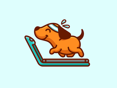 Dog Gym training sport for sale fit strong health wellness cartoon playful adorable lovely happy joyful walk walking treadmill equipment fitness gym exercise exercising run running puppy pups dog doggy geometry geometric character mascot cute fun funny illustrative illustration brand branding logo identity