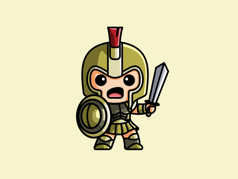 Gladiator shield war gold sticker lovely adorable fighter sword armor helmet game warrior knight gladiator cartoon comic character mascot cute fun funny illustrative illustration brand branding logo identity