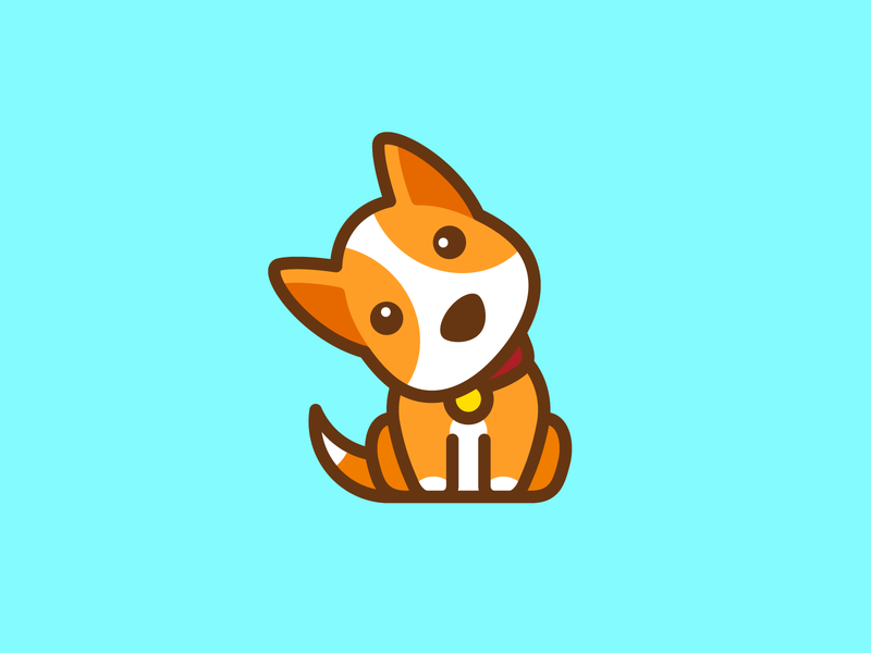 Curious Dog puppy question bright vibrant choice option head face tilt tilted sit sitting app icon playful simple pet animal dog doggy adorable lovely confuse confused curious curiosity cartoon comic child children character mascot cute fun funny illustrative illustration brand branding logo identity