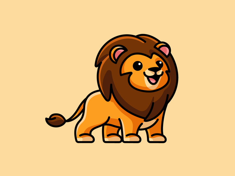 Lion powerful strong stand standing smile happy cat carnivore animal wild mammal africa king jungle lion illustrative illustration cartoon comic child children character mascot cute fun funny logo identity