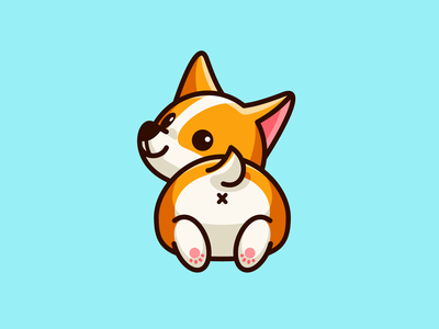 Corgi Butt happy positive bold outline friendly kawaii t-shirt design pembroke welsh corgi butt puppy doggy lovely adorable lazy smile laying down happy weekend dog animal illustration cartoon comic child children geometry geometric character mascot cute fun funny illustrative illustration logo identity