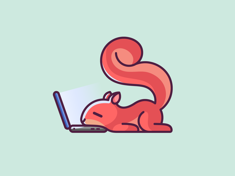 Lazy Squirrel low energy expressive expression rest nap bold outline sleepy tired monday mood laying down sleep sleeping laptop notebook work working lazy squirrel adorable lovely kids art child children cartoon comic playful humor cute fun funny illustrative illustration brand branding logo identity