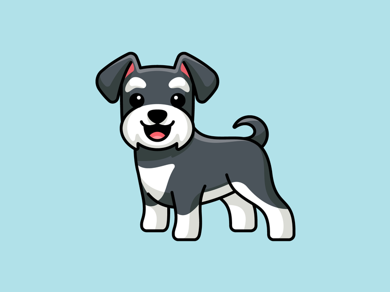 Schnauzer adobe illustrator stroke vector bold outline clean simple animal beard pet breed adorable lovely fun playful excited cute smile laugh positive vibe happy smiling sticker design stand standing silver grey doggy pet schnauzer dog illustration cartoon comic illustrative illustration