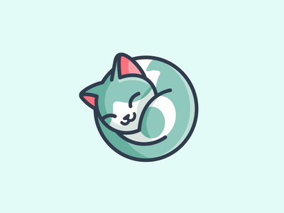 Cat Sleeping rounded friendly sleep sleeping relax enjoy peaceful calm nap napping lazy rest laying down curled up cat kitten circle circular geometry geometric cartoon comic illustration illustrative illustration character mascot cute fun funny logo identity brand branding animal pet adorable lovely