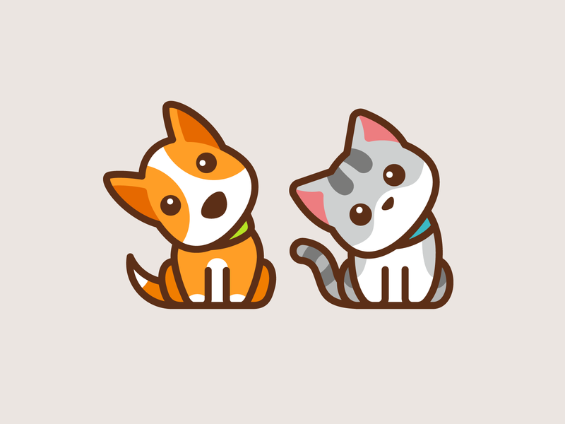 Confused Dog & Cat funny icon mascot sitting confused adorable cute pet cat dog illustration character branding logo