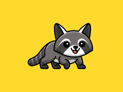 Raccoon rodent stripe tail kids illustration sticker design walk walking lovely adorable animal mammal raccoon cute illustration logo cartoon comic child children character mascot cute fun funny illustrative illustration brand branding logo identity