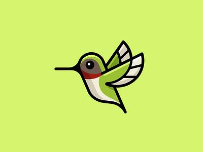 Hummingbird - Simple Version icon symbol adorable green wings flying cartoon illustrative logo mascot character bold outline geometric minimal simple cute bird hummingbird illustration identity logo