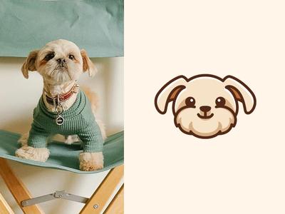 Shihtzu Yorkie Dog avatar puppy symbol illustrative illustration lovely happy smile breed head simple adorable cute shihtzu yorkshire terrier yorkie pet dog icon logo