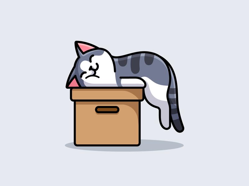 Current Mood humor cartoon relaxed enjoy smile adorable mood weekend happy sleep playful funny cute box tshirt illustration lazy sleeping kitten cat