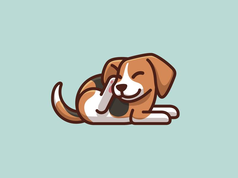 Beagle Dog Scratching puppy illustration mascot character geometry playful funny fun cute lovely canine itch scratching pet animal beagle dog symbol icon cartoon comic child children brand branding logo identity