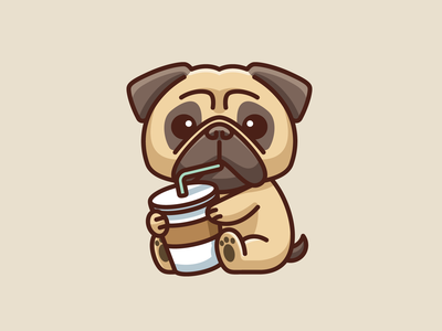 Pug and Coffee puppy character mascot cafe espresso drink lovely merchandise t-shirt cartoon adorable funny cute illustration tshirt animal pet dog coffee pug