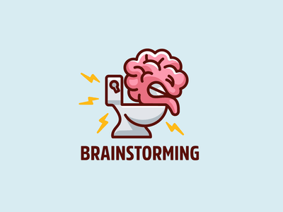 Brainstorming brainstorm joke merchandise tshirt t-shirt design thunder storm designer playful illustration toilet mascot character cartoon humor funny thinking idea brainstorming brain