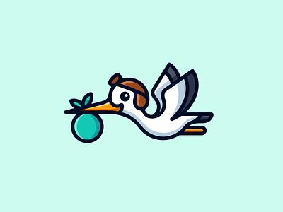 Stork fun friendly character mascot animal wings delivery lovely adorable cartoon cute helmet simple baby illustrative branding logo flying bird stork