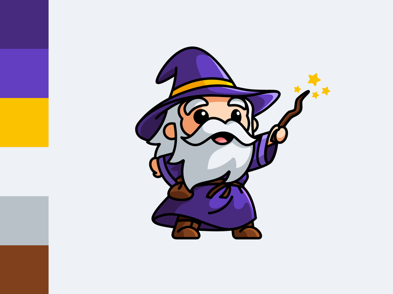 Wizard old man branding game wand color palette character hat cartoon fantasy magician wizard spell magic lovely adorable cute illustrative logo illustration mascot logo