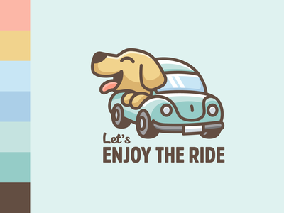 Enjoy the Ride pet merchandise merch tshirt t-shirt design positive joyful enjoy volkswagen beetle car ride labrador retriever dog happy cartoon illustrative logo illustration color palette branding logo