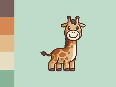 Giraffe happy smile color palette simple lovely adorable wildlife jungle zoo animal giraffe symbol icon branding cute cartoon comic geometry geometric child children character mascot illustrative illustration brand branding logo identity