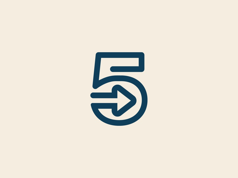 5 + Forward Arrow modern simple movement speed outline stroke monoline forward next arrow 5 number branding identity logo