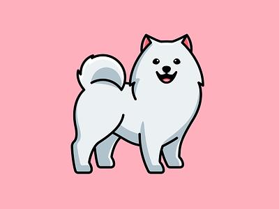 Samoyed Dog mascot character sticker smile happy white furry adorable cute doggy animal illustration dog samoyed