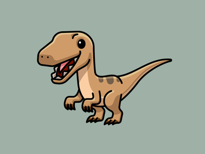 Velociraptor cute mascot character illustration dinosaur velociraptor