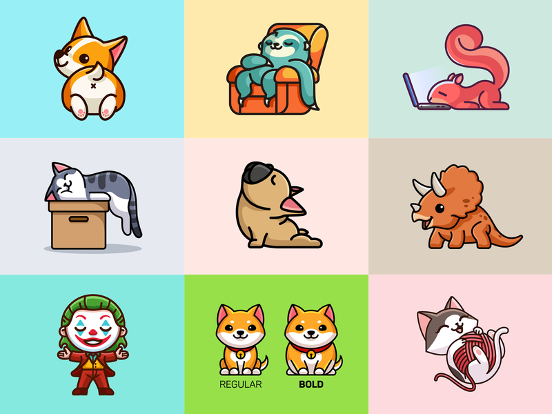 Best 9 Shots of 2019 merch project joyful new year holiday lazy cheerful happy simple lovely cartoon adorable cute top 9 illustrative logo illustration mascot character best 9 dribbble 2019 shots