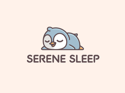 Sleeping Penguin napping lazy branding identity friendly soft family children baby character animal penguin consultant sleep illustrative adorable cute mascot cartoon logo