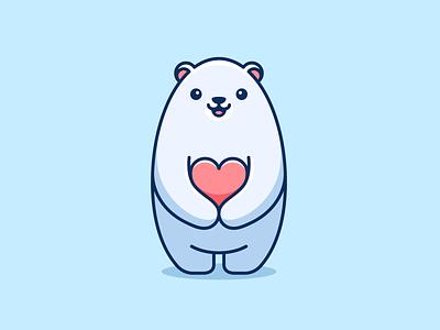 Polar Bear Love character mascot branding cartoon lovely adorable cute valentine love heart logo polar bear
