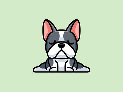Yoga Bulldog illustrative branding pet adorable sport cartoon mascot animal dog character french frenchie bulldog yoga funny cute logo