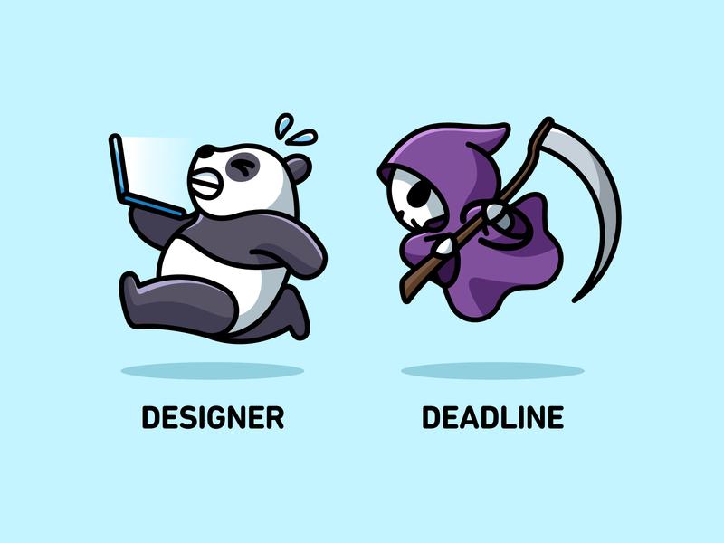 Designer & Deadline skeleton halloween deadline simple cute funny mascot character cartoon joke playful chasing laptop graphic design designer life panda running humor illustration grim reaper