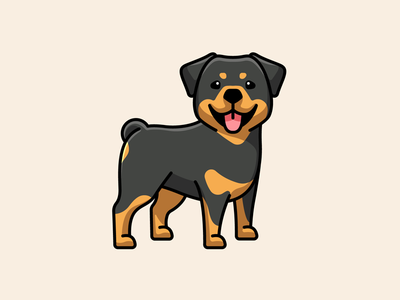 Rottweiler illustrative logo mascot character illustration smile strong doggy guard domestic canine black animal happy lovely adorable cute breed dog rottweiler sticker