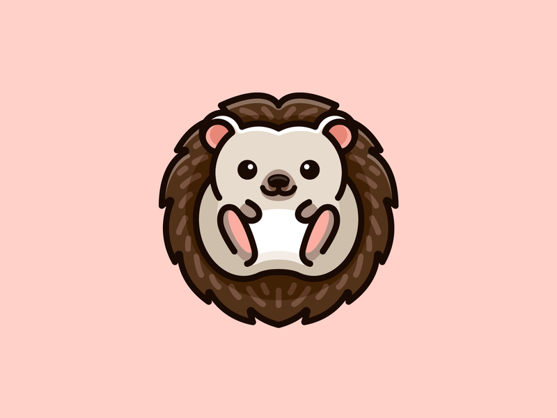 Hedgehog playful fun lovely character friendly needle spiny pet animal kawaii children kids baby illustrative mascot cartoon logo adorable cute hedgehog
