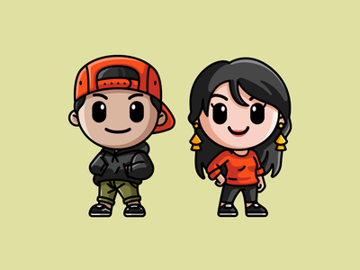 James and Jess art kawaii chibi illustrative 2d modern simple avatars cartoon profile icon couple lovely adorable cute cover podcast art mascot avatar illustration