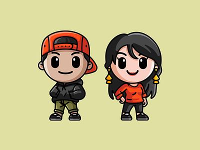 James and Jess art kawaii chibi illustrative 2d modern simple avatars cartoon profile icon couple lovely adorable cute cover podcast art mascot avatar illustration