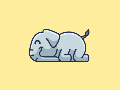Elephant Sleeping lovely friendly adorable sale smile happy lazy sleeping children kids character mascot illustration illustrative cute mammal animal elephant identity logo
