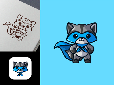Raccoon Superhero symbol friendly process sketch cartoon digital cool app icon animal raccoon cape character mascot illustrative logo hero superhero mask blue bandit