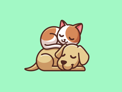 Best Friends character simple cartoon lovely best friends weekends relaxing sleeping animal cat dog illustrative illustration mascot adorable cute branding brand identity logo
