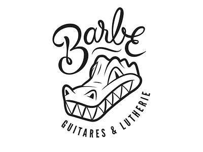 Logo - Barbe Lutherie crocodile lettering handwritten type vector guitar design logo