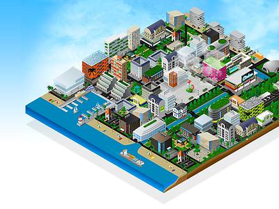 Mond'Omnium - Omnium Finances vector animation city isometric