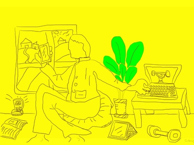 Staying at home devices staying at home illustration home