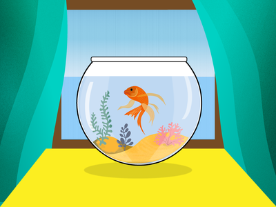 Dreaming of home fish illustration
