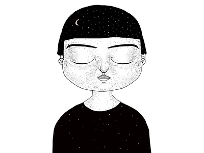 illustration 01 freckles stars moon illustration