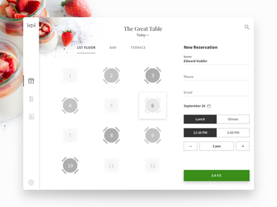 The Great Table order reservation outsystems tablet restaurant pos ui