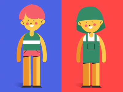 Kids character design girl boy illustration art green pink brother sister child yellow red blue animation character concept character vector art vector kid kids