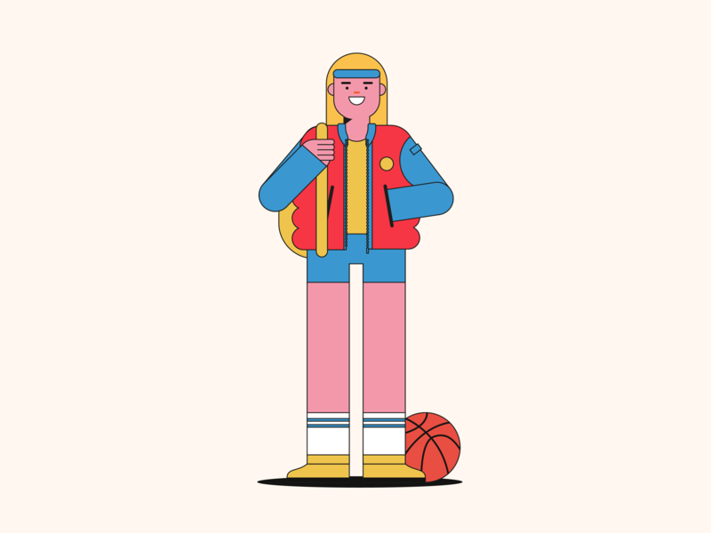 Basketball rookie pop art pop color character vector artwork vector illustration highschool sport basketball player basketball